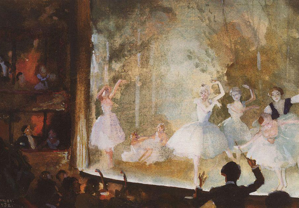 "The promotion of Russian ballet abroad was greatly served by Sergei Diaghilev, theatrical figure and popularizer of Russian culture, who engaged a huge number of artists from Russia for the scenery and decorations of his ""Ballets Russes"" seasons that began in 1909 in Paris, London, and Rome / Russian ballet. Champs-Elysees. Sylphides. Konstantin Somov"