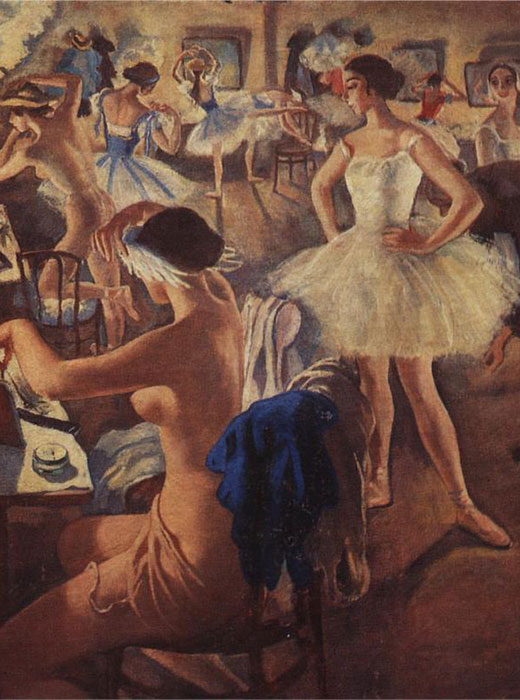 Zinaida Serebryakova did not paint ballet action scenes, as were typical of Edgar Degas or Konstantin Somov. Her paintings were devoted to the life of the ballet dressing-room: her ballet is one of portraits of ballerinas in costumes / Zinaida Serebryakova, In the ballet dressing-room (Bolshoi ballerinas), 1922