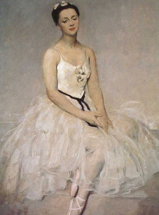 Alla Shelest (1919-1998) was a Soviet prima ballerina, who danced and taught at the Mariinsky Theater, the Aterballetto in Reggio Emilia, Italy, and the Budapest Theater of Opera and Ballet / Viktor Oreshnikov,  Portrait of ballerina Alla Shelest, 1949