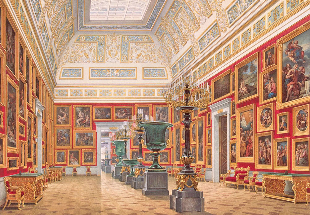 "Eduard Petrovich Gau (1807 —1887) was a master of ""architectural watercolors"". He invariably paid special attention to objects' perspectives. His artistic ""interior portraits"" are almost as accurate as a photograph: he painted extraordinarily minute details. / Interiors of the New Hermitage. Italian Art"