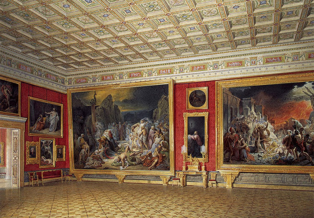Starting in the 1850s, by order of Emperor Nikolai I, Gau started painting watercolors of the Winter Palace's interior, and he started work on the majestic interiors of the Small and New Hermitages a little later. / Interiors of the New Hermitage. Russian Paintings