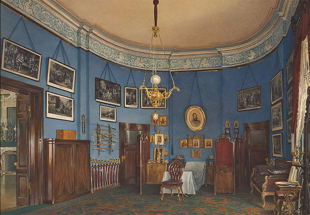 Later, in 1767 -1769, architect Jean-Baptiste Vallen-Delamot built the Northern Pavilion of the Small Hermitage on the bank of the Neva River in the previous Classicism style. / Interiors of the Small Hermitage. Bedroom of Crown Prince Nikolai Alexandrovich