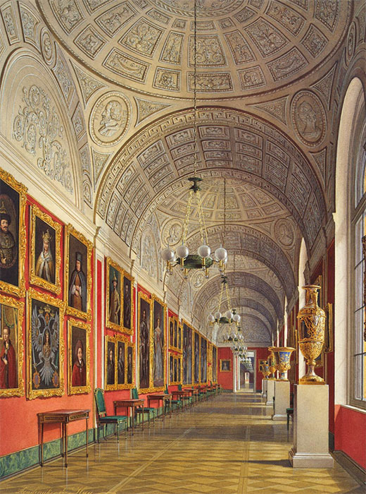 "This architectural ensemble received the name ""Small Hermitage"" because Catherine II held evening gatherings with games and shows called ""small hermitages"" in the Northern Pavilion. /  Interiors of the Small Hermitage. Northern wing of Romanov Gallery."