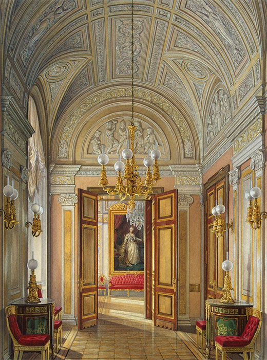 The hall and two suites on either side of it were set up to have a view of the Neva. The Eastern suite had a heavy table that was used in the building's lower floor. A crane was used to get it in the hall. / Interiors of of the Small Hermitage. Suite