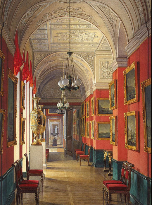 The art works placed in these galleries gave rise to the Imperial Museum's collections. / Interiors of the Small Hermitage. Gallery of views of Saint Petersburg