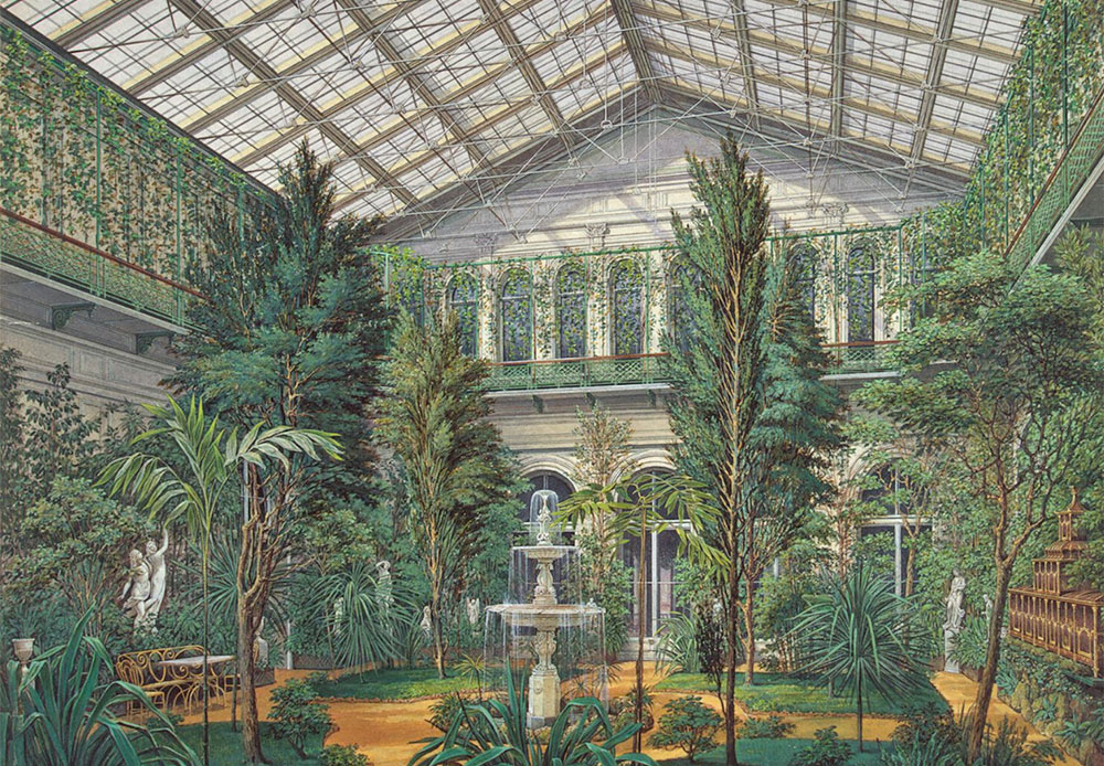 In the southern part of the Small Hermitage's pavilion had a winter garden in the middle of which a statue stood. Curry and myrtle trees planted in ornate pots decorated on the balustrade of the garden's upper tier. The presence of the winter garden is explained by the pavilion's initial name, Orangerie, as indicated in archival documents. / Interiors of the Small Hermitage. Winter Garden