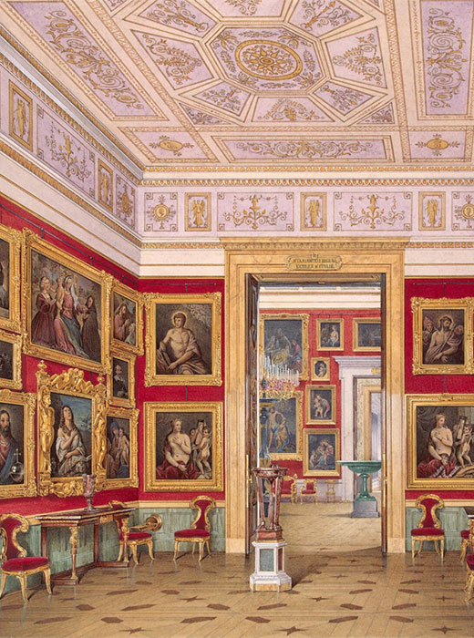 The paintings and sculptures obtained by Catherine II are the Hermitage's greatest treasure. They became the basis of the future museum's collection. The walls of every building were decorated with several layers of paintings. / Interiors of the Small Hermitage. Eastern Gallery