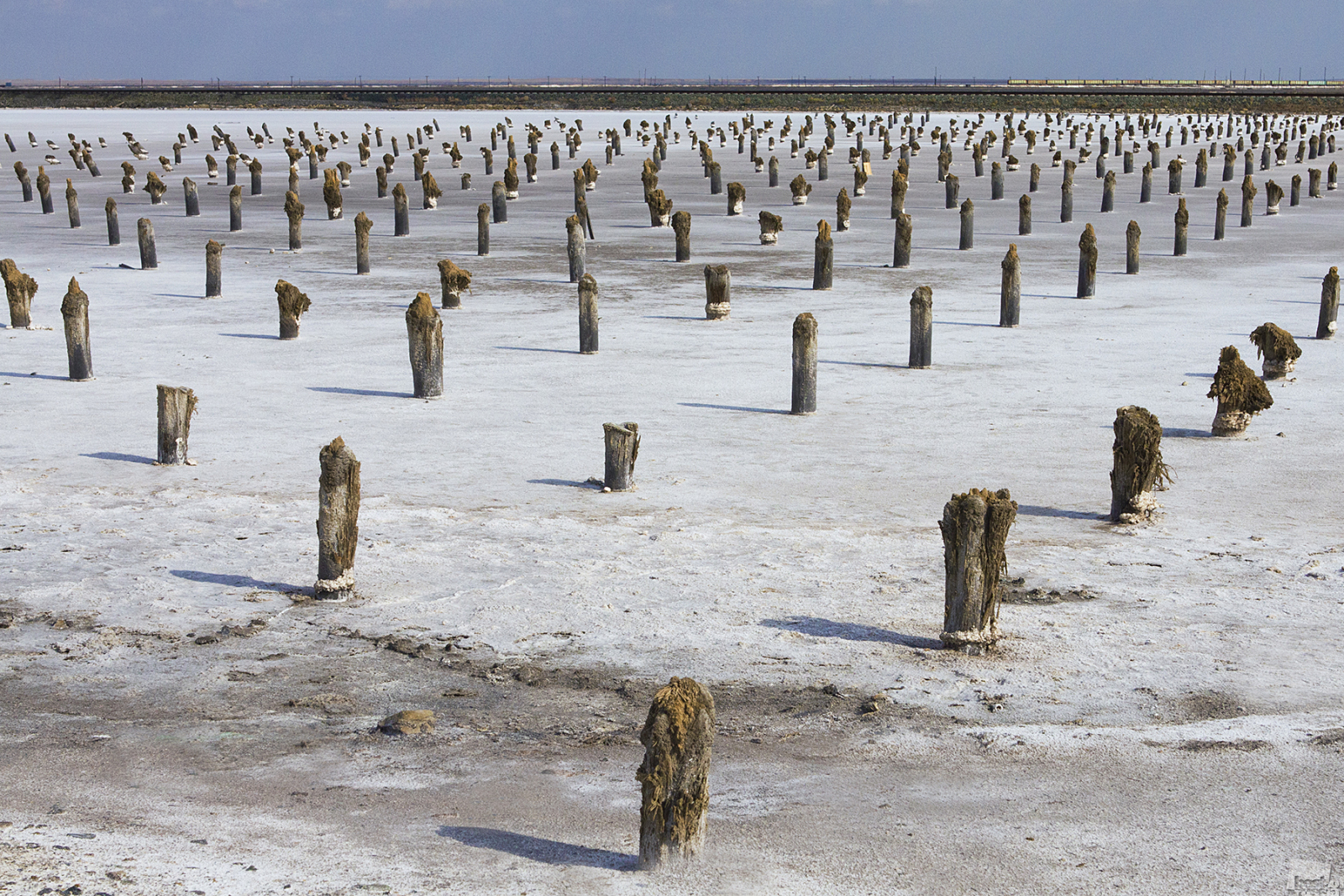 Salt pillars on Lake Baskunchak. Astrakhan region