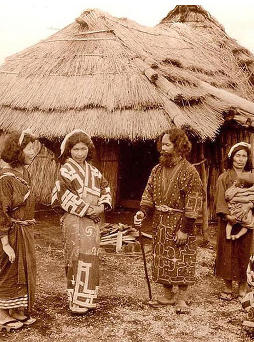 The Ainu are an ancient nation, who lived in Russia and Japan and originated about 13,000 years before the Common Era. The women applied unusual tattoos to their face and arms.