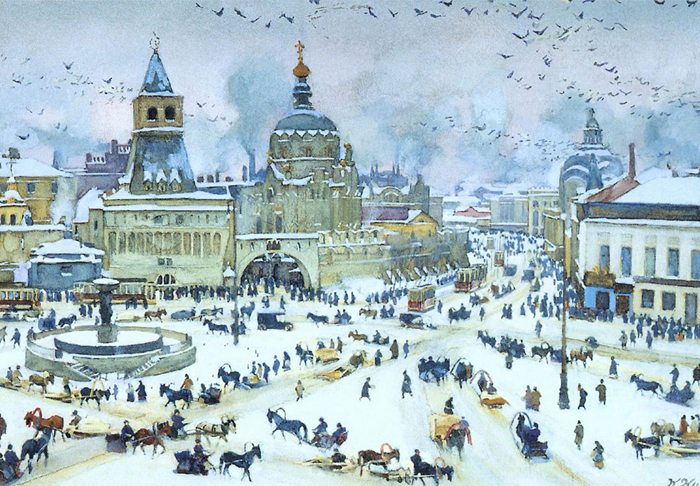 Moscow has always been a source of inspiration for artists thanks to the beauty of its churches, its historic buildings, wide streets, and hidden courtyards. Artists captured all of this in their work, each in their own way, but always gladly and willingly. / Lubyanskaya Square in Winter, Konstantin Yuon, 1905