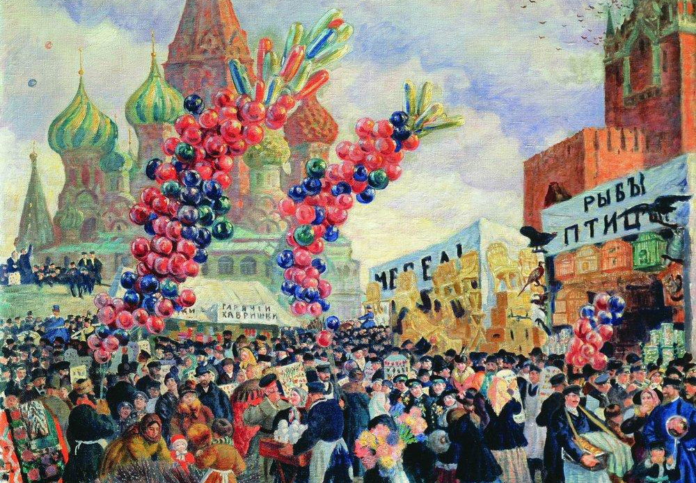 In 1909, Boris Kustodiev was discovered to have a spinal cord abscess. For the next 15 years, the artist was relegated to a wheelchair and painted laying down. This difficult period is when he painted his brightest, most temperamental, and cheerful works. / Palm Sunday near Spassky Gate on Red Square in Moscow, Boris Kustodiev, 1917