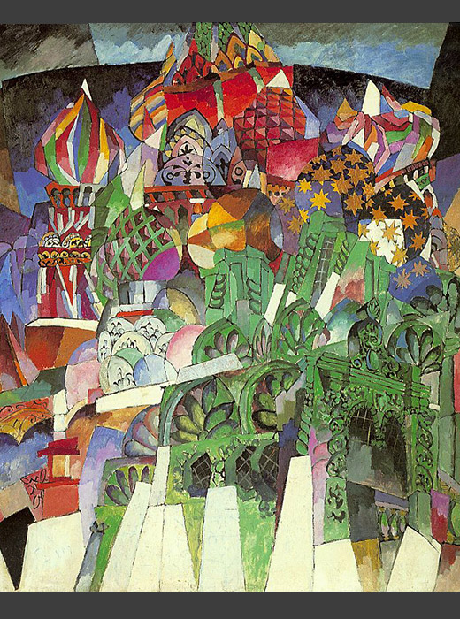 "Aristarkh Lentulov met proponents of cubism while studying in Paris. This was reflected in his paintings: Moscow looks like a miraculous and blooming ""architectural wonder"" as a result of the buildings' dynamic portrayal. / Saint Basil's Cathedral, Aristarkh Lentulov, 1913"