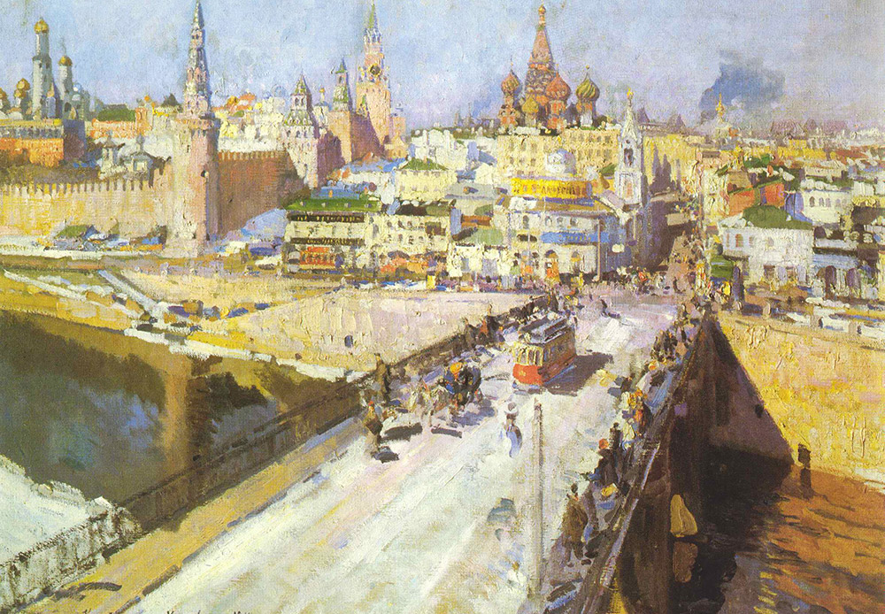 Konstantin Korovin was born in Moscow, grew up and studied there as well. He travelled around the world a lot, including to Russia's north. He also created many well-known works while abroad. But he always returned to his native city where he painted Moscow's sites and worked on the set decorations for performances at the Bolshoi Theater. This painting shows the view of the Kremlin from the Baltschug Hotel. Artists and photographers have loved this hotel for wonderful views from its window since Soviet times. Tourists still have the opportunity to see everything with their own eyes. / Moskvoretsky Bridge, Konstantin Korovin, 1914