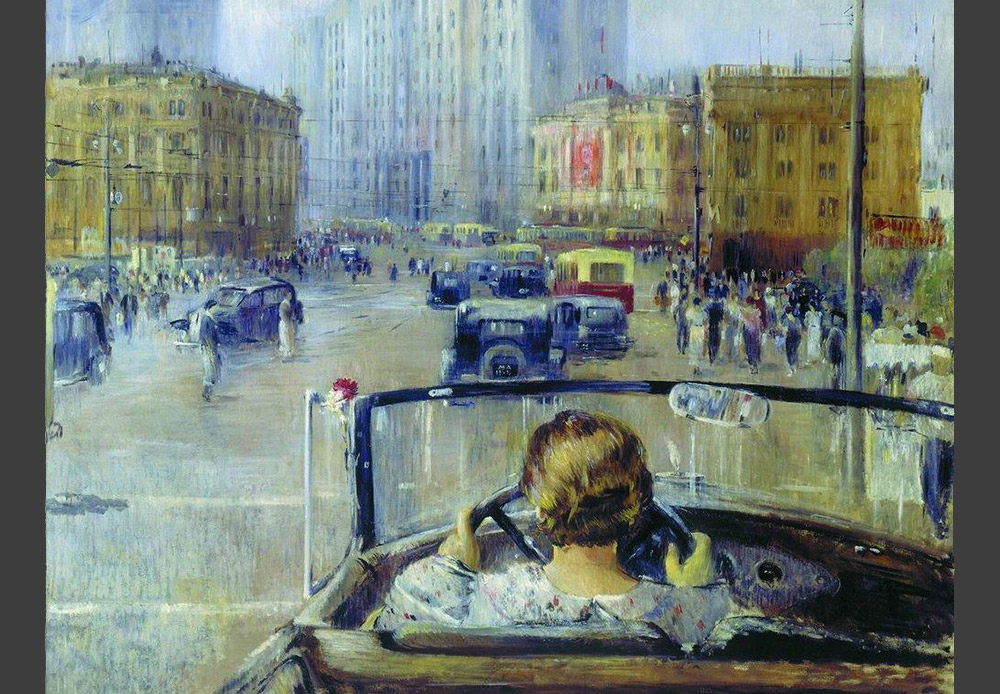 This painting is part of a series of works about Moscow that Yuriy Pimenov worked on starting in the mid-1930s. A woman at the wheel of a car was a rather rare sight in those days. This image was seen by the artist's contemporaries as a symbol of a new life, of a new Moscow. / New Moscow, Yuriy Pimenov, 1937
