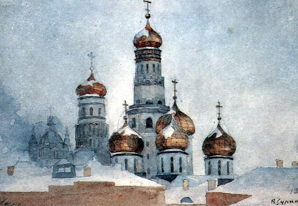 "Vasily Surikov paid a great deal of attention to the composition of his works when he created, thus earning himself the nickname ""the Composer"" in artistic circles. / Ivan the Great Bell Tower, Vasily Surikov, 1876"