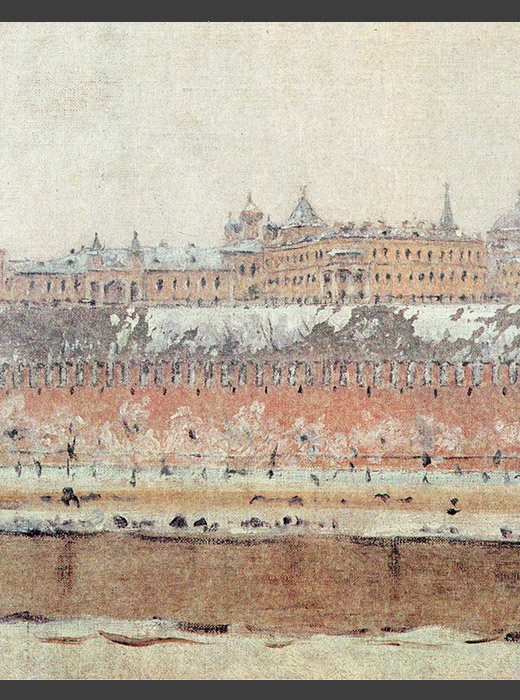 "Vasily Vereshchagin gained fame for being a painter of battle scenes. However, at the peak of his career, Vereshchagin wrote in his journal, ""I will never paint another battle theme again...basta! I take what I paint too personally. My eyes weep the woe of every injured and killed soldier."" After these words, the artist switched from battle scenes to landmarks in his art. / Moscow Kremlin in the winter, Vasily Vereshchagin"