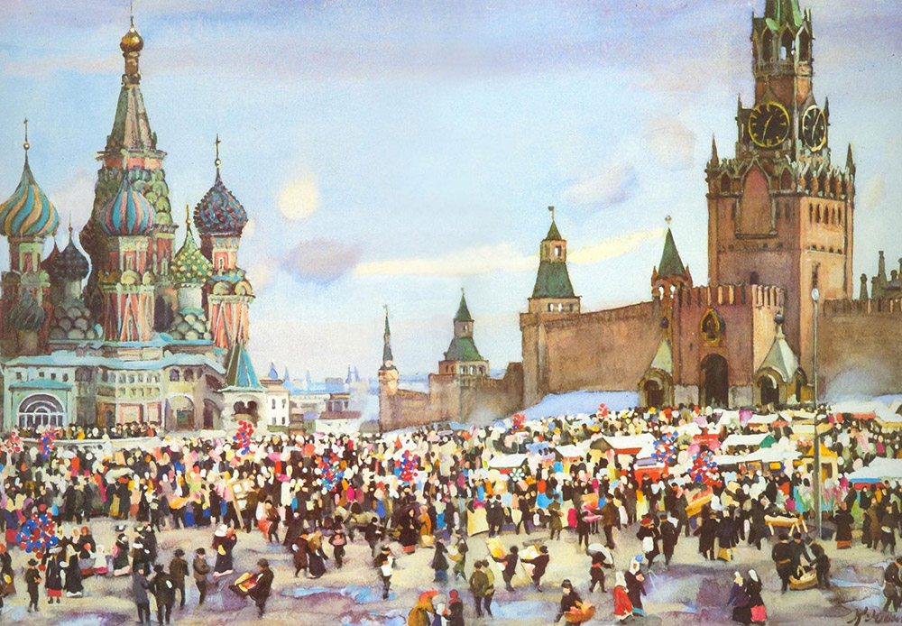 The artist Konstantin Yuon found his true calling in landscape painting. His works clearly feature the influence of French impressionists and the originality of 19th-century Russian realism. / Palm Sunday Bazaar on Red Square, Konstantin Yuon, 1916