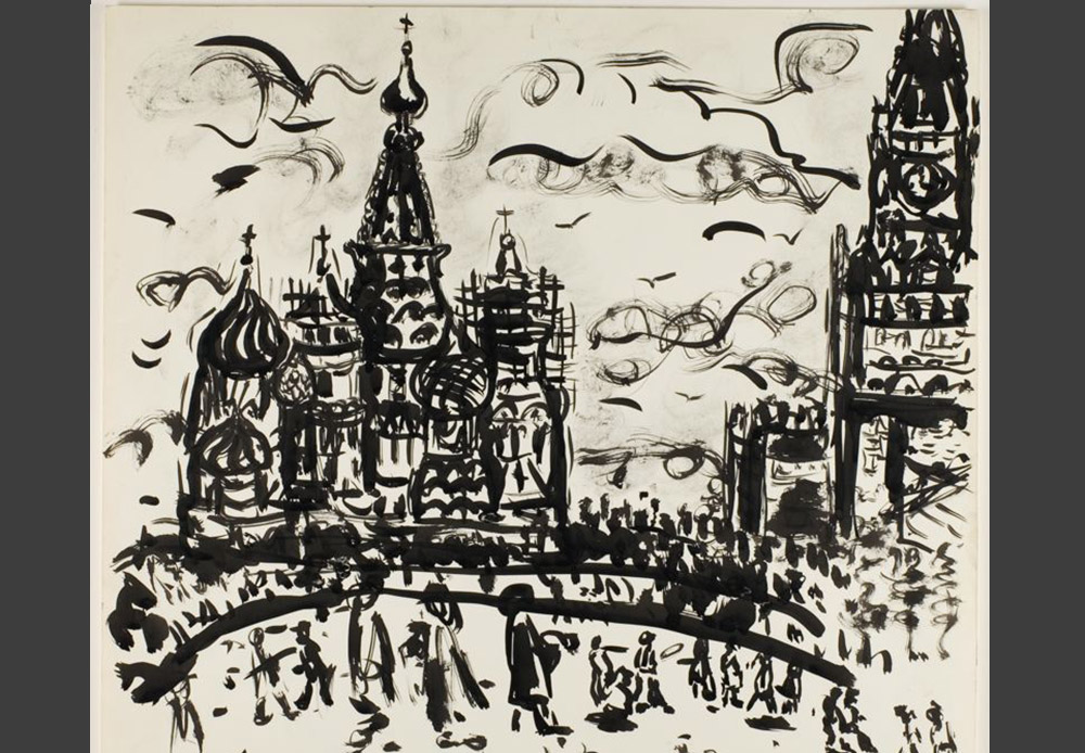 Ivan Albright was an American artist, painter, and drawer. He traveled around the world a great deal and was always fixated on minute details. He painted the walls of his studio in the United States black and always wore black-colored clothes in order to avoid any glares. He approached illustrating Moscow in the same demanding fashion. Moscow, Ivan Albright, 1967