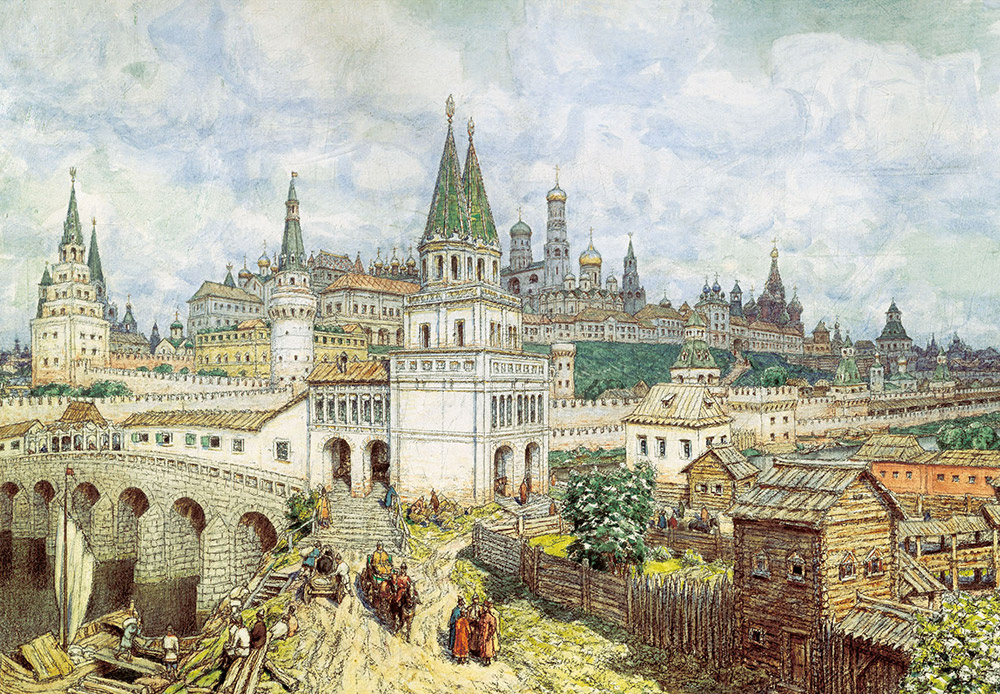 Apollinary Vasnetsov headed the commission to study Old Moscow and worked on archaeological excavations. He painted the All Saints' Bridge that connected the Zamoskvorechye district with the Kremlin; the bridge was considered to be one of the marvels of Moscow. It was built in 1693 and existed only until 1853. / The Kremlin's prime. All Saints' Bridge and Kremlin at the end of the 17th century. Apollinary Vasnetsov