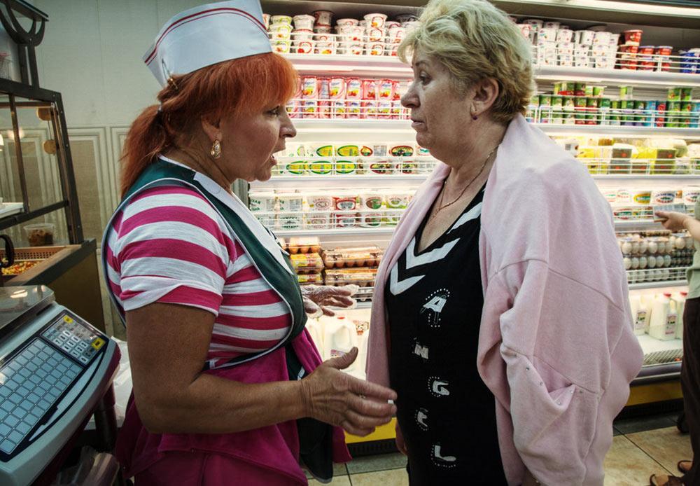 Zhenya and Maria at the store. Brighton Beach, New York. July 28, 2012