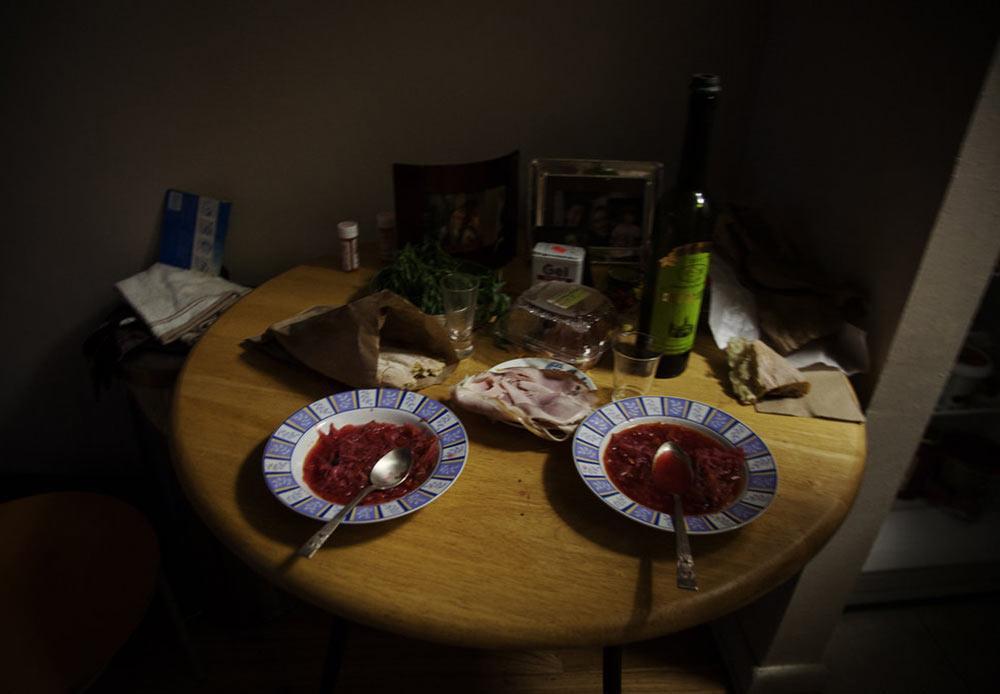Traditional borsch dinner in Brighton Beach, New York. October 6, 2012.