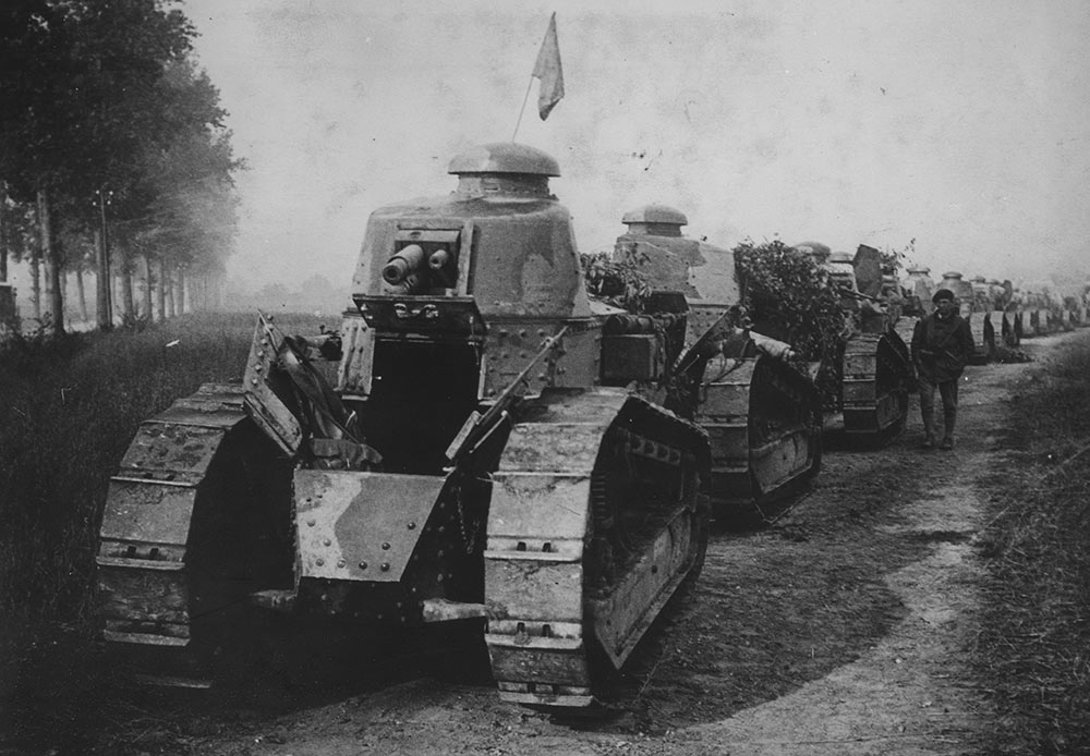 Column of Renault FT-17 tanks at the front line, France, 1917