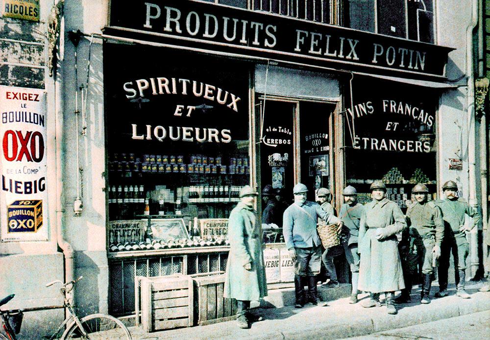 Paul Castelnau, Russian soldiers outside a grocery shop, Place des Marchés, Reims, France, 11 March 1917