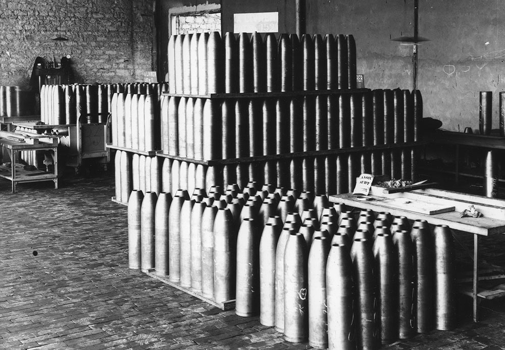Germany declared war on the Russian Empire on 1 August 1914. An estimated two million Russian soldiers died in action, while the total loss of life amounted to some 3.5 million // A workshop for the manufacture of shells, France, 1916