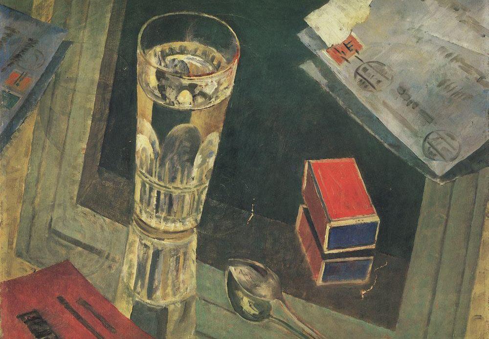 Still life of letters, Kuzma Petrov-Vodkin, 1925