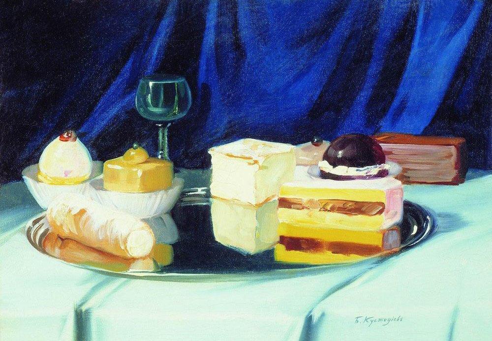 Still life of sweets, Boris Kustodiev