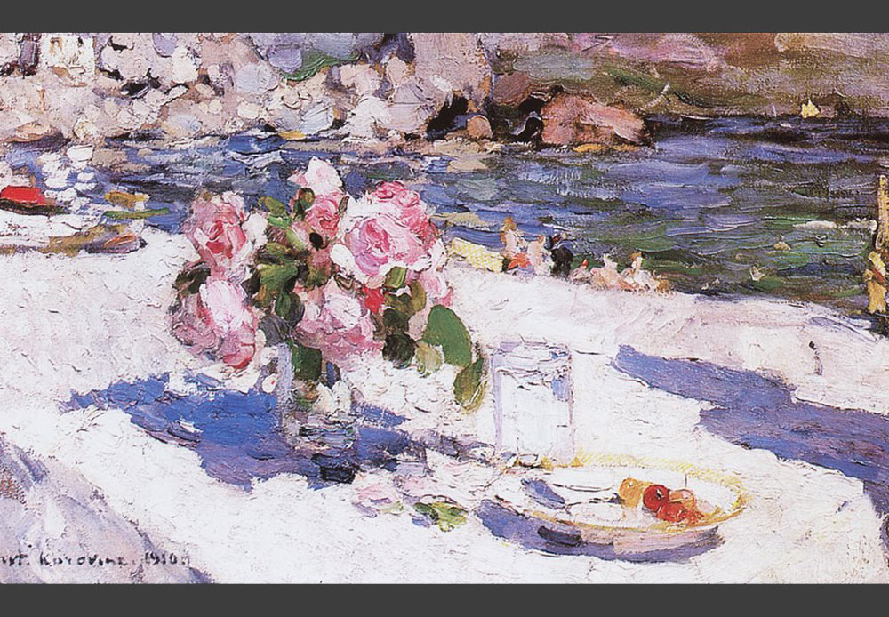 In most cases, artists painted everyday items that are endowed with an additional symbolic meaning. // On a sea shore, Konstantin Korovin, 1910