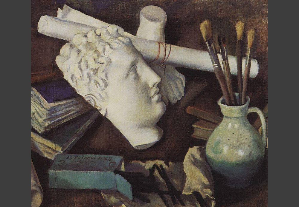 """Until the 20th century, still life was considered to be a """"learning"""" genre for newcomers and was not accepted by serious artists. The beginning of the 20th century was considered to be the heyday of Russian still life painting, the time when it first achieved parity with other genres. // Still Life of Attributes of the Arts, Zinaida Serebryakova, 1922"""