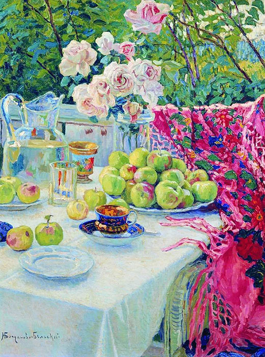 Artists strove to expand the possibilities of visual language, the results of which most vividly manifested themselves in still life. Enriched with new subjects, images, and artistic techniques, Russian still life developed rapidly. In 15 years, it ran the gamut from impressionism to abstract art. // Still life, Nikolay Bogdanov-Belsky