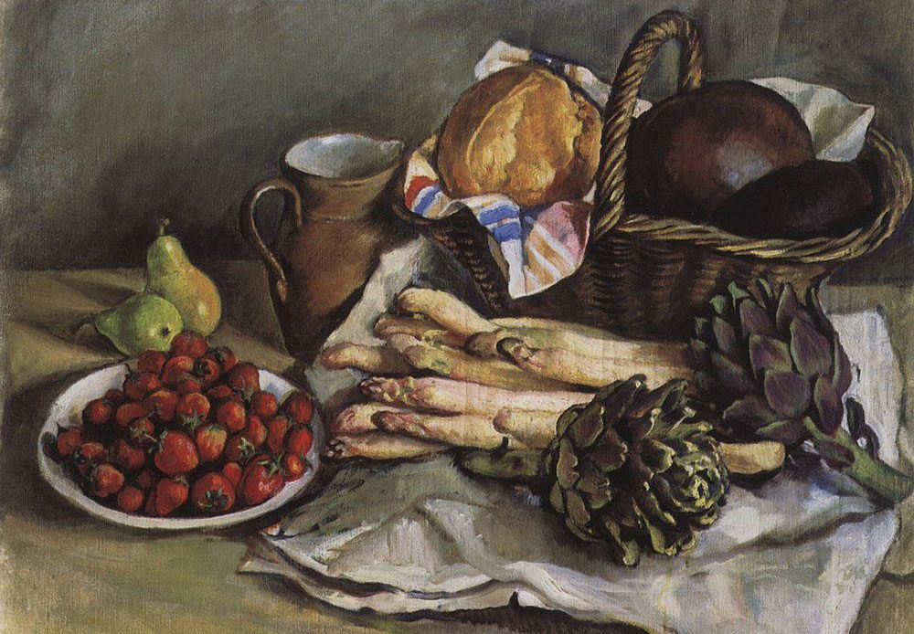 Still life of asparagus and strawberries, Zinaida Serebryakova 1932