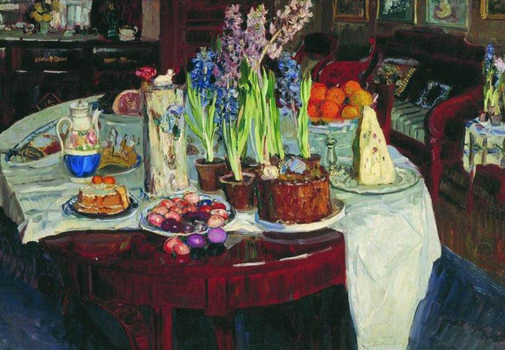Still life, Christ has risen!, Nikolay Bogdanov-Belsky, 1915