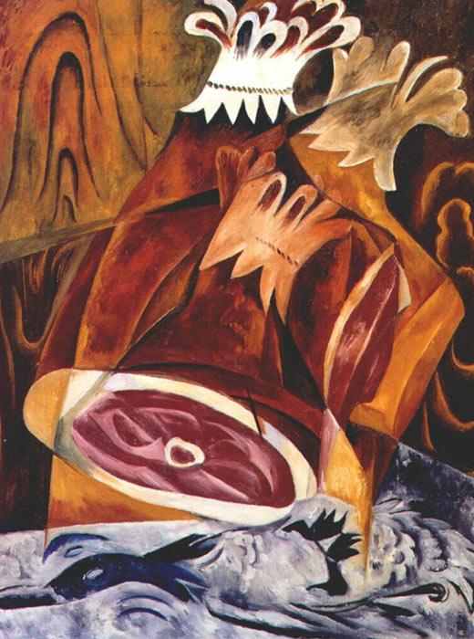 Still life of ham, Natalia Goncharova