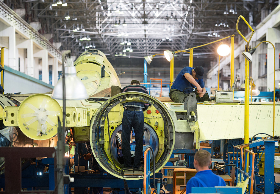 Constructing a single plane is a technically complex process that is split into many small steps. Every section of the Irkutsk Aviation Factory completes its own part of the technological chain.