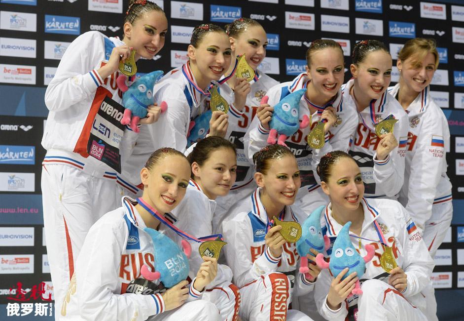 在2014年柏林举办的欧锦赛上,俄罗斯花样游泳队包揽双人、单人和团体项目金牌。