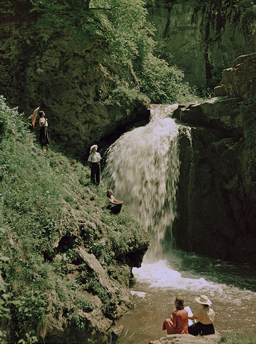 An excursion on a waterfall in the Norh Caucasus