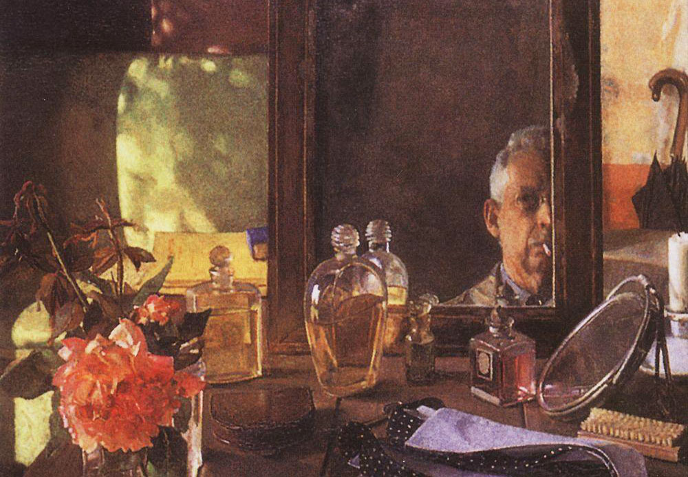 Self-portrait in the mirror, Konstantin Somov, a Russian painter and graphic artist. His most famous painting was a portrait of Alexander Blok (a Russian poet and writer of the 20th century).