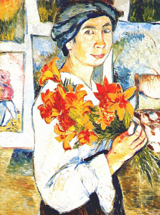 Self-portrait with Yellow Lilies, 1907,  Natalia Goncharova, avant-garde artist. Her paintings are the most expensive of any female artist in history. Her most famous painting was the 1914 work Flowers.