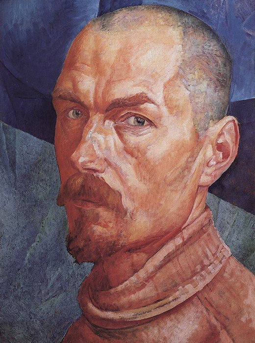 Self-portrait, 1927, Kuzma Petrov-Vodkin, a painter and graphic artist. Bathing of a Red Horse from 1912 was his most famous painting.