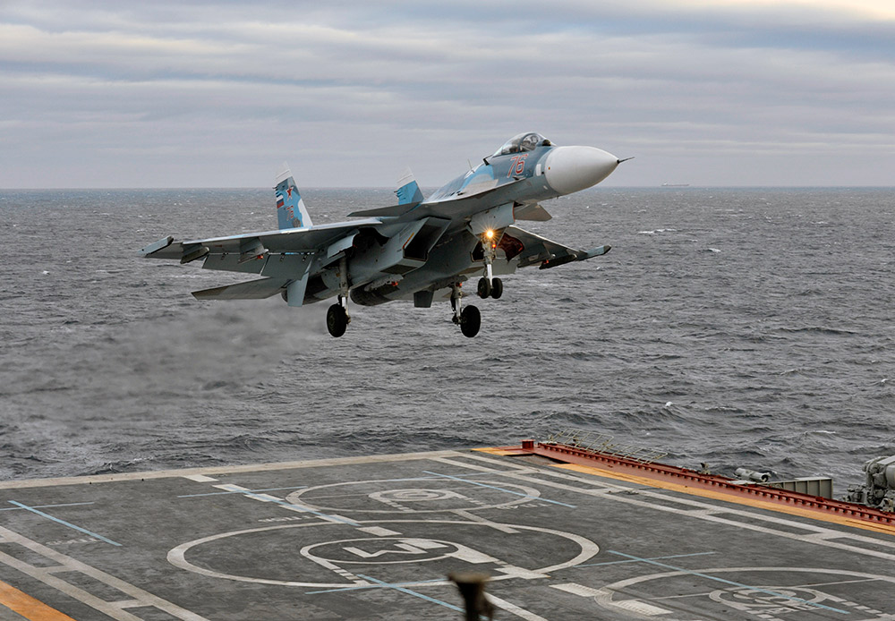 Sea-based aviation is a separate category. Take-off and landing on the swaying deck of an aircraft carrier out at sea — and hooking on to the arresting cable — is beyond the skills of many pilots. The Su-33, the Russian Navy's primary deck-based aircraft, flies with the Admiral Kuznetsov, Russia's only aircraft carrier.
