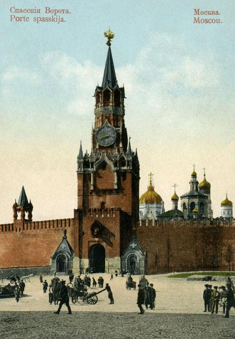 "The two chapels at the Spassky Gates were built in the ""Russian style"" in 1866. Both belonged to St Basil's Cathedral. The left houses the sacred image of Our Lady of Smolensk as a reminder of the city's return to the Russian lands in the 16th century. The right is renowned for its sacred image of Christ the Savior, an exact replica of the icon over Spassky Gates. They were demolished in 1929."