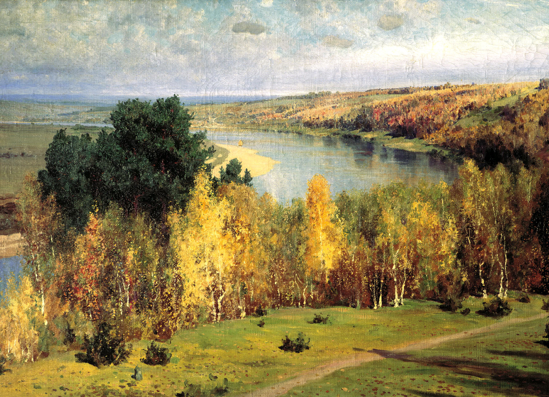 Many of the paintings by Polenov depict intimate places where he lived for a long time, including the banks of the Oka river. His painting «Golden Autumn» is no exception, and ranks as one of the artist's most important works. // Vasily Polenov, «Golden Autumn», 1893