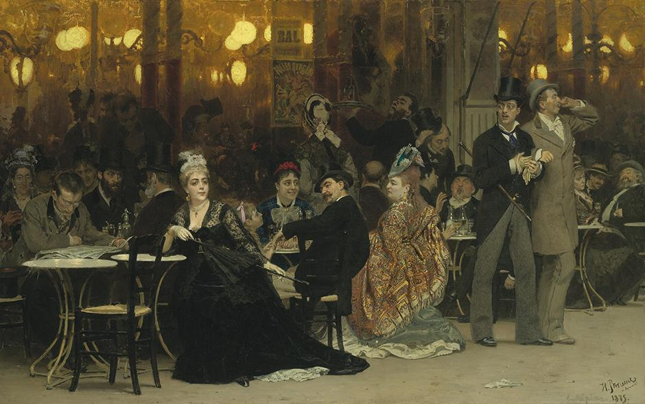 "Ilya Repin, ""A Parisian Café"", 1875 - £4.52 million. You wouldn't guess it today, but the scene painted here is actually quite scandalous: a woman dared to go to a café without an escort to accompany her, meaning she's a fallen woman. Russian critics derailed Repin for his frivolous theme, but the artist repainted the woman 20 years later. In the modified version, the painting became moralistic in tone, as the woman's face took on an expression of shame. However, the painting's Swedish owner ran X-rays and restored the initial painting."