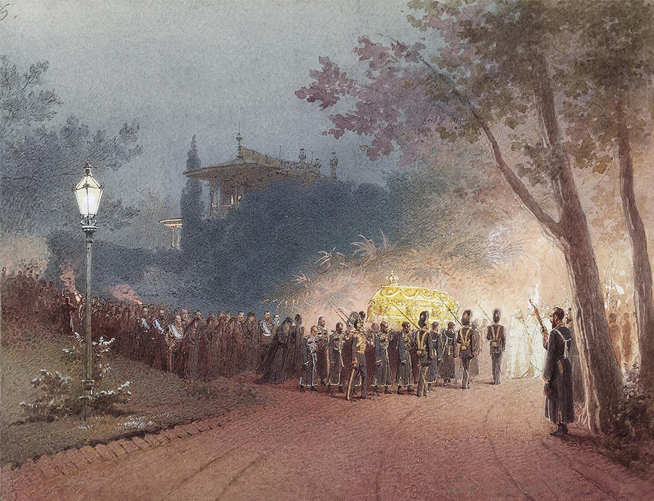 "1869 saw an exhibition of his works. Five years later, in 1874, he departed for Paris, where, inter alia, he was commissioned by the Hungarian government to paint ""Austrian Empress Elizabeth Lays a Wreath on the Coffin of Deak,"" in addition to which he published pictures in illustrated journals."