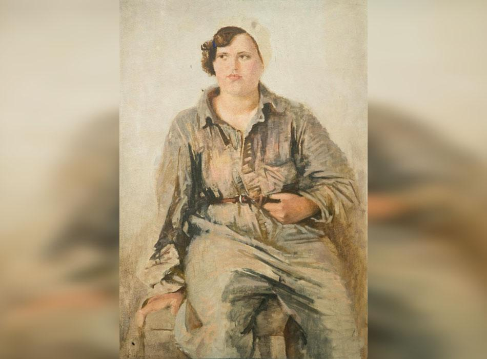 Unfortunately, the identity of Samokhvalov's model is unknown. We only know that it was painted around 1932-1934, when the artist came to Moscow from St. Petersburg. Samokhvalov had difficulty obtaining permission to observe his muses as they worked to build a tunnel. // Female Construction Worker, 1934