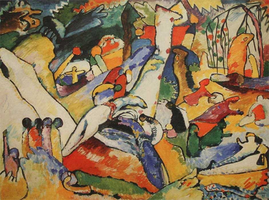 Wassily Kandinsky was an outstanding Russian painter, graphic artist, visual art theorist and pioneer in the field of abstract art. He was one of the founders of Der Blaue Reiter (The Blue Rider) group of artists and a teacher at the Bauhaus school of art and architecture in Germany, which spawned the eponymous artistic association and direction in architecture. // Composition II, 1910