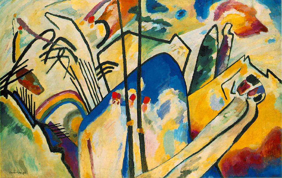"""Compositions"" is a famous series of works by Kandinsky, which fully expresses his creative pursuits. Before arriving at abstract art, he experimented with Expressionism and Fauvism, and attached himself to decadent Russian circles. The first ""Composition"" dates from 1910, the last from 1939. He painted ten in total, but the first three were destroyed during the Second World War, and only photos of sketches of some have survived. // Composition IV, 1911"
